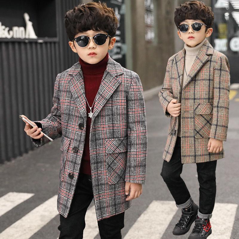 معطف الصوف من الصوف للأطفال من 4-11 سنة خندق الفتيان منقوشة معطف خارج القطن معطف الصوف للأطفال والكتان