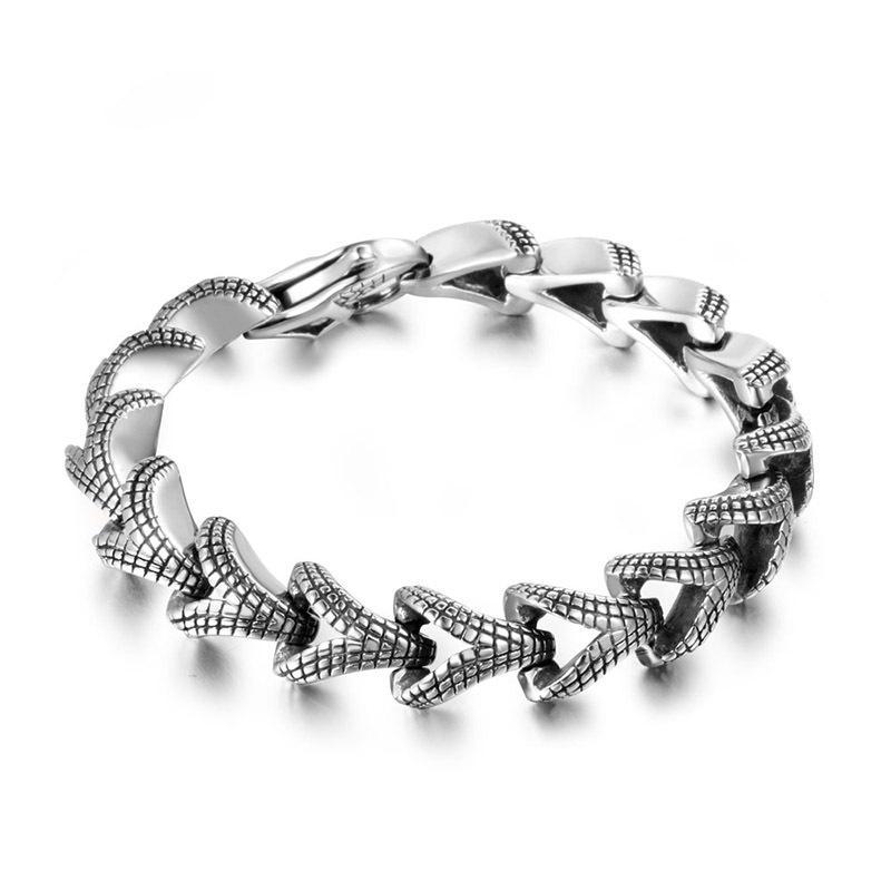 Pulseira masculina dos homens do punk padrão de escala de aço inoxidável pulseira um belo presente pulseira punk para homens