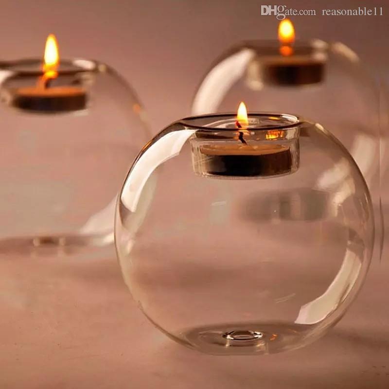 Soporte de vela de huracán de vidrio 8cm Bola de cristal Boda Boda Partido Día de San Valentín Decoración de la Navidad Decoración de Navidad Candlestica