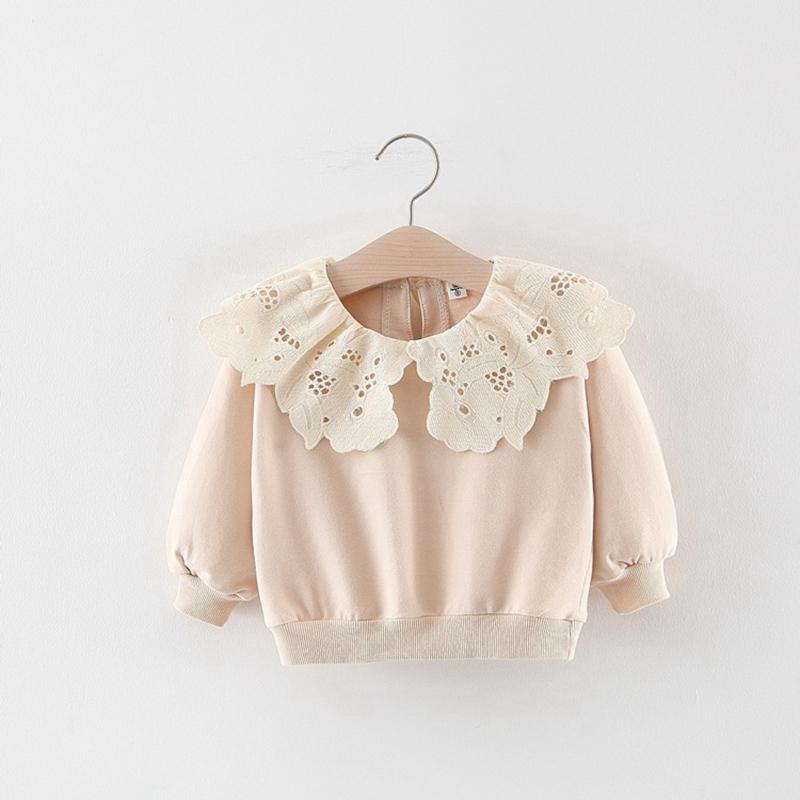2019 Moda Sonbahar Vinter Çocuk Bebek Çocuk Kız Uzun Kollu Dantel Yaka Pamuk Kadife Tişörtü Dış Giyim