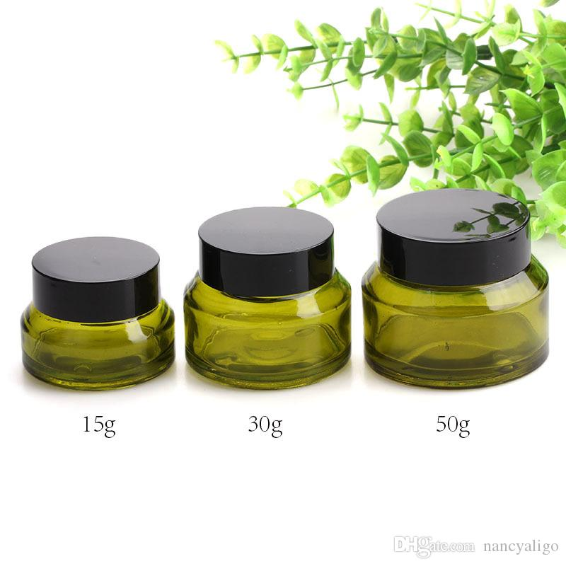 Glass Cream Jar 15g 30g 50g Cosmetics Emulsion Cream Bottle Olive Green Shouler Container with Black Lids