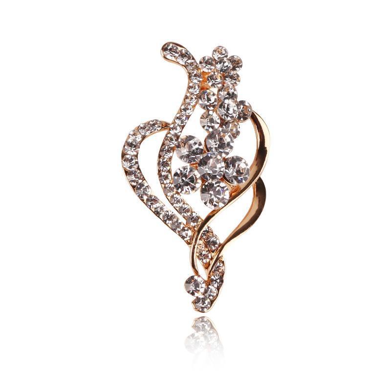 Hermoso Broche 31X54MM geométrica broche de la flor de la aleación del Rhinestone para el vestido de Mujeres Accesorios Coat