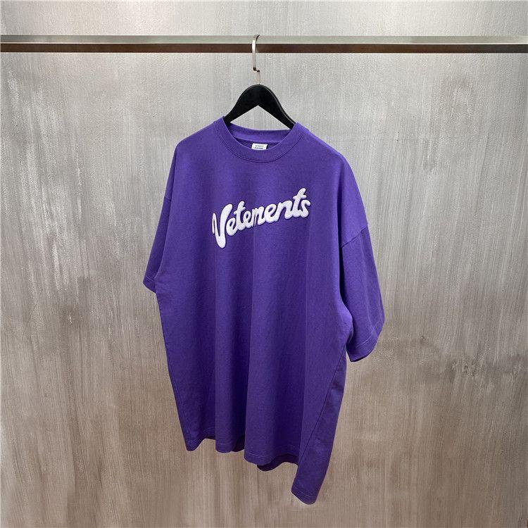 2020 T-shirt Purple White Letter Print Tee Summer Men Women Oversize T-shirts Hip Hop Cotton Tops