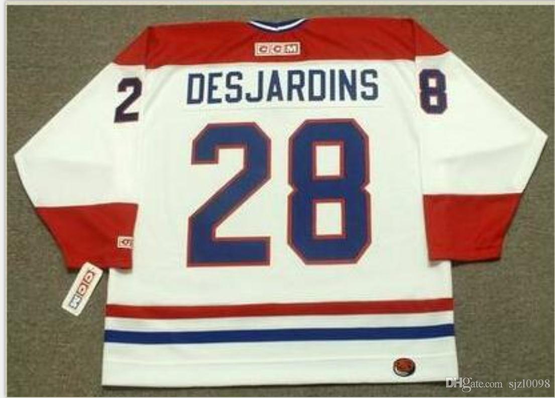 Пользовательские Мужчины Молодежных женщины Урожая # 28 Дежарден Монреаль Канадиенс 1993 CCM Hockey Джерси размер S-5XL или пользовательского любое имя или номер