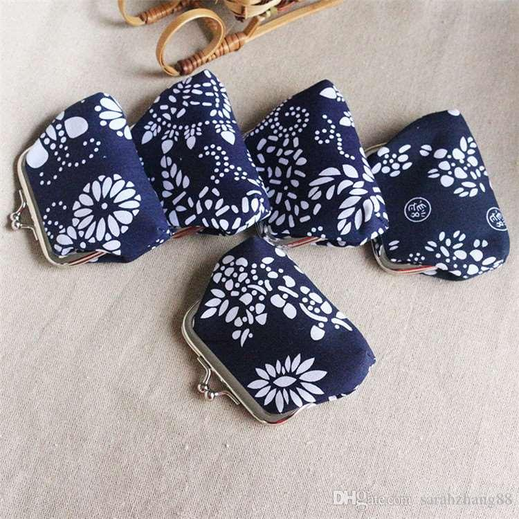 Flowers And Triangles Coin Purses Vintage Pouch Kiss-lock Change Purse Wallets