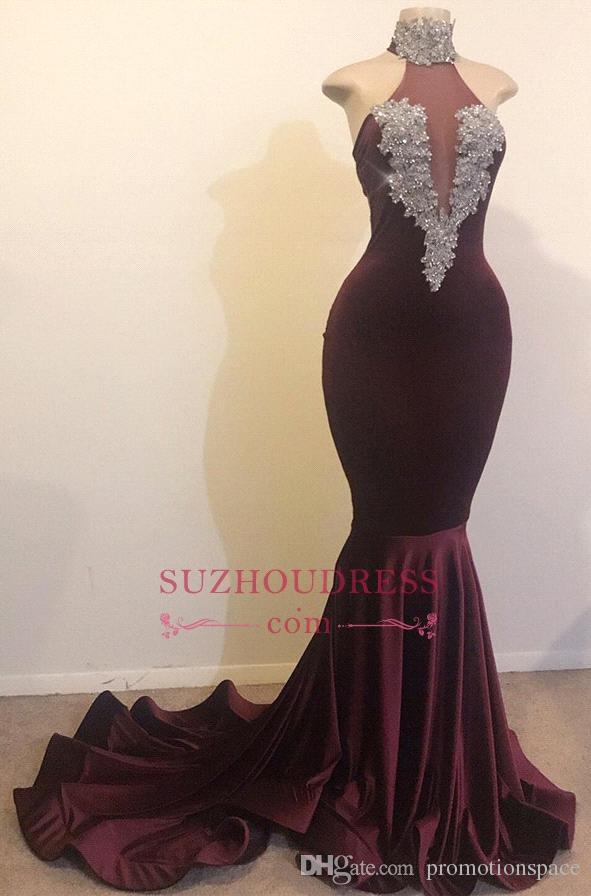 エレガントなハイネックプラムマーメイドウエディングドレス2019ノースリーブビーズクリスタルベルベットウエディングドレスEveing Wear Gowns BC1144