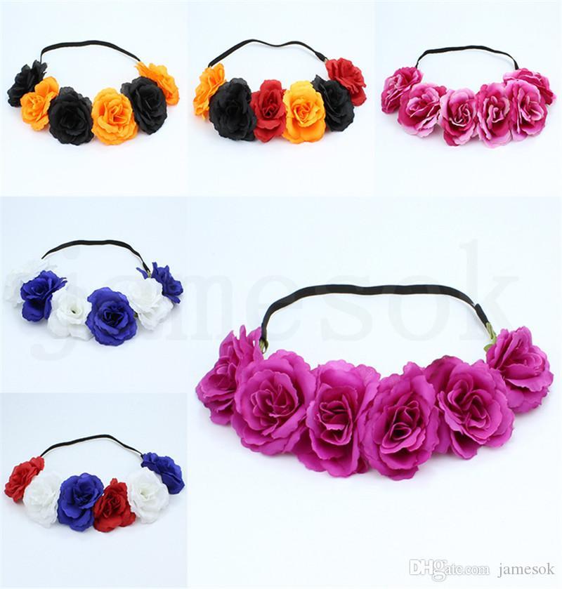 heißen Verkauf neuer stieg Haarband Kranz Haar beugt Böhmen Handgemachte Artificialseaside Blume Haarband Crown Hochzeit Brautkopfschmuck-Kranz-DC934