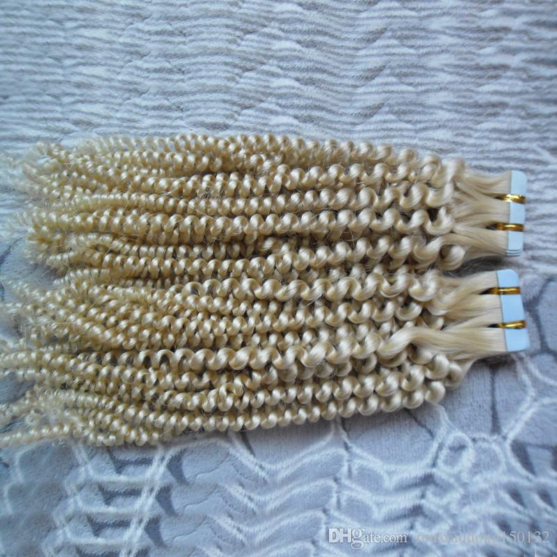몽골어 곱슬 곱슬 곱슬 머리카락 확장 기능 인간의 머리 40pcs 느슨한 곱슬 금발 유럽 피부 Weft 레미 헤어 익스텐션 40g / 팩 100G
