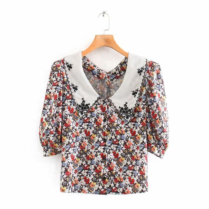 2020 Printemps Eté Nouvelle impression fleur floral femmes zaraing blouse chemise sheining vadiming blouse femme sexy chemise Wdd87205