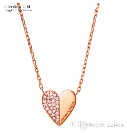 Fsmiling Rose Gold Plated Crystal Heart Pendant Necklace and Earring Set