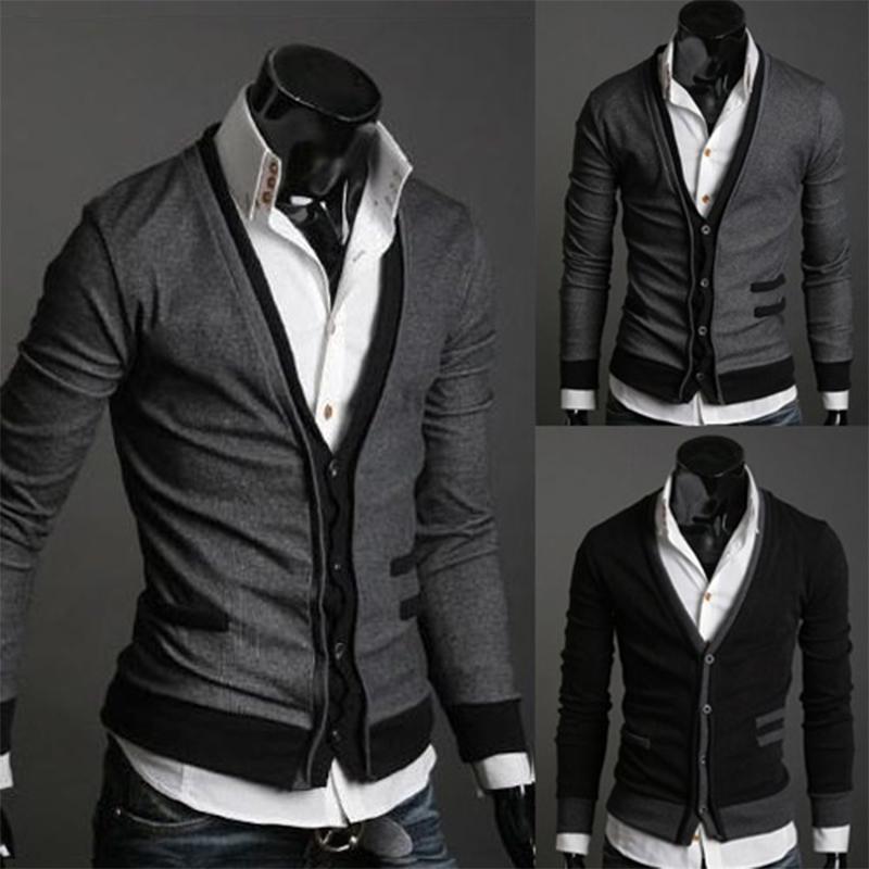 Zogaa 2019 nuevos hombres Cardigan suéteres de moda de lana Sweatercoat géneros de punto con cuello en V macho collar de abrigo Ropa de la marca de un solo pecho SH190930