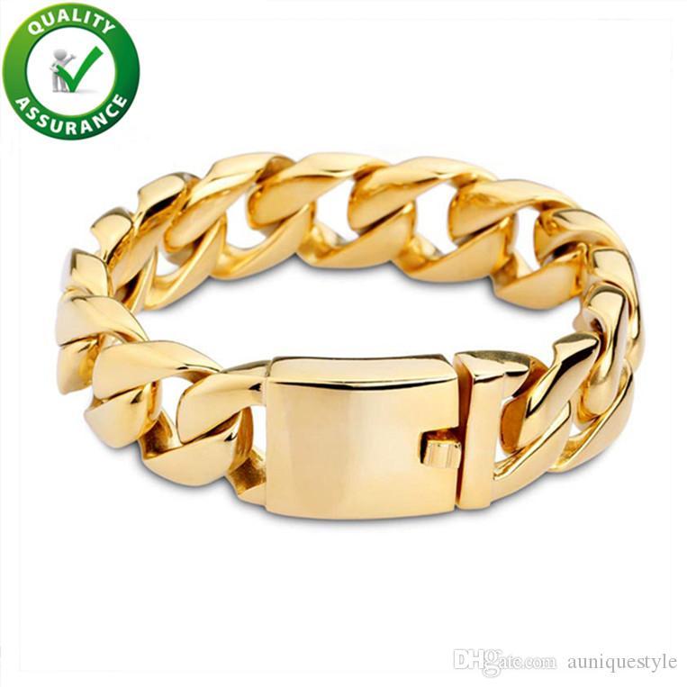 Luxury Designer Jewelry Men Bracelets Hip Hop Jewelry Gold Bracelet Stainless Steel Cuban Link Chain Bangle Rapper Love Heavy Accessories