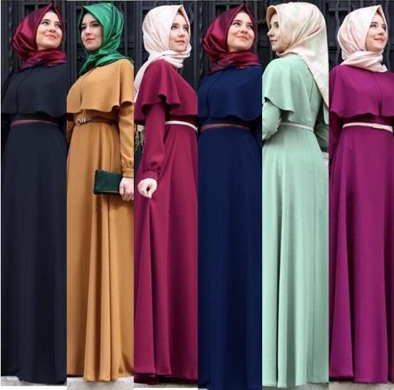 Autumn's new Muslim cloak plus-size women's dress, hui dress women's skirt set simple elegant Arab national robes