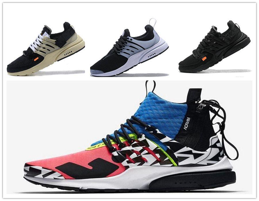 2020 새로운 최고의 프레스토 높은 품질의 약어 공기 MID 블랙 뜨거운 용암은 남성 트레이닝 운동화 스포츠 신발 크기 7-11 신발을 실행
