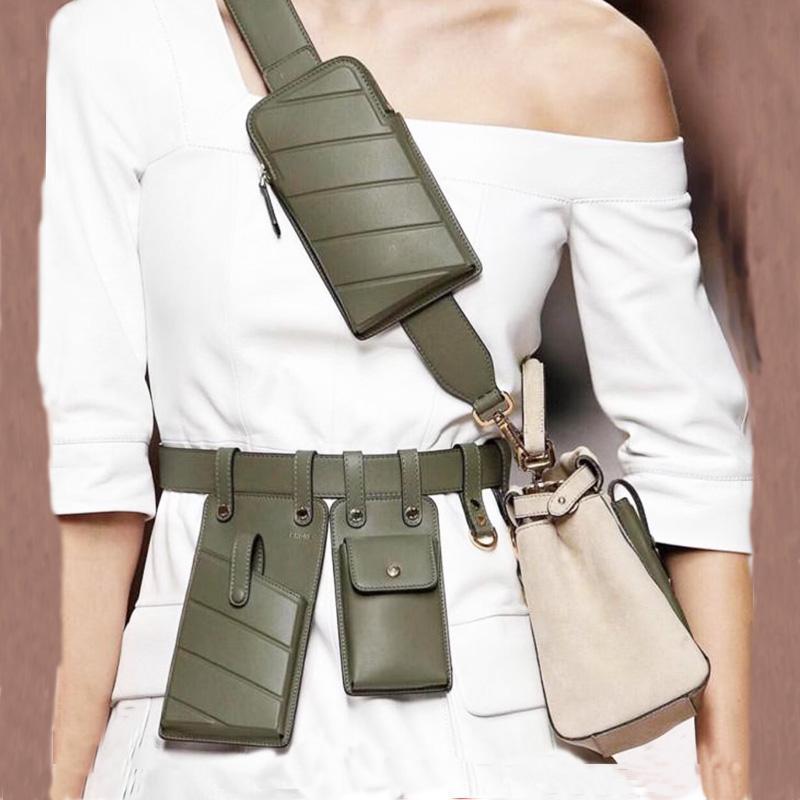 Teléfono Bolsas de cintura Cinturón de cuero Correa de moda Hombro Crossbody Bolsas de cintura Pequeño Paquete Paquetes para mujer RWEJK