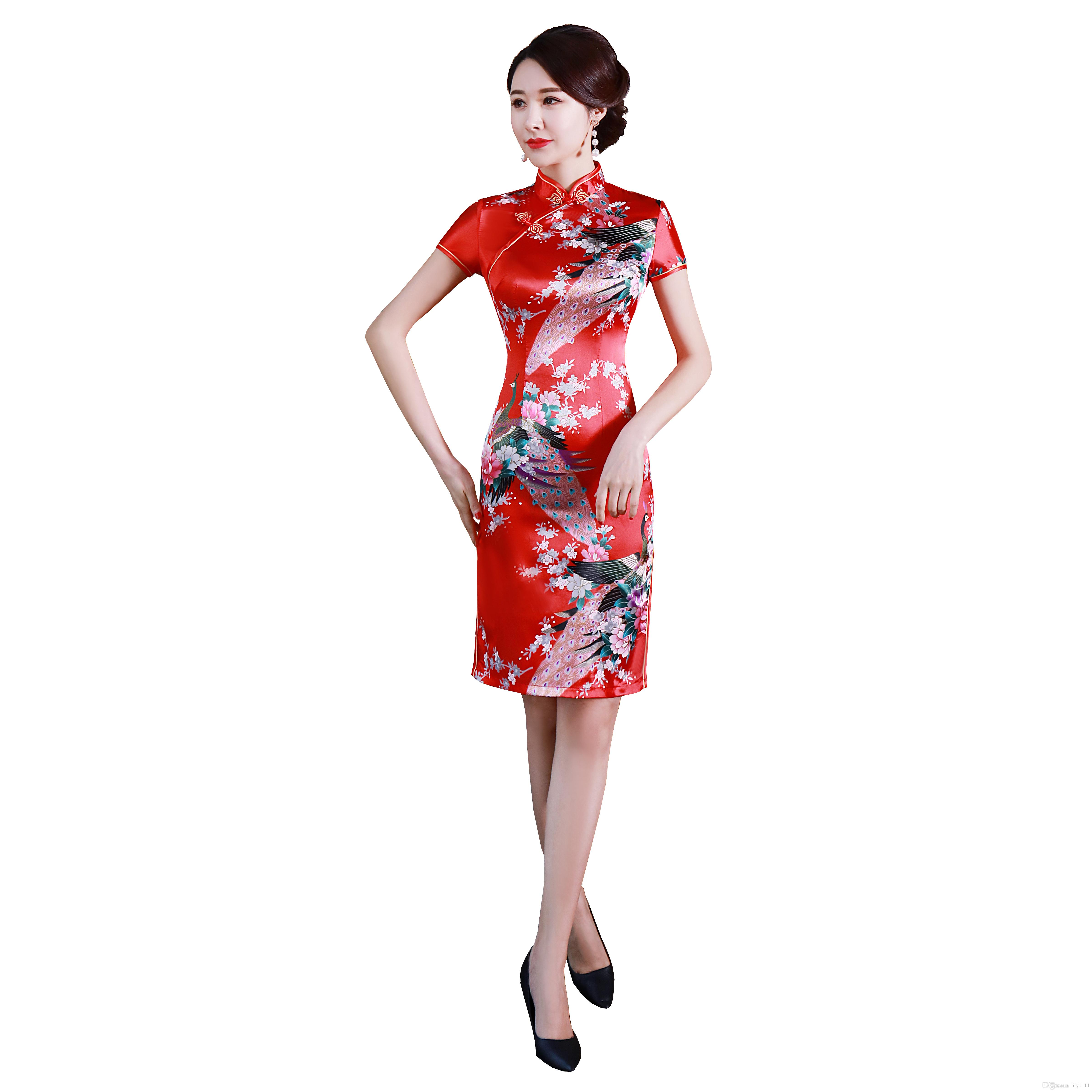 상해 이야기 중국 전통 드레스 Qipao 빈티지 미니 중국 드레스 패턴 cheongsam 푸른 공작 드레스