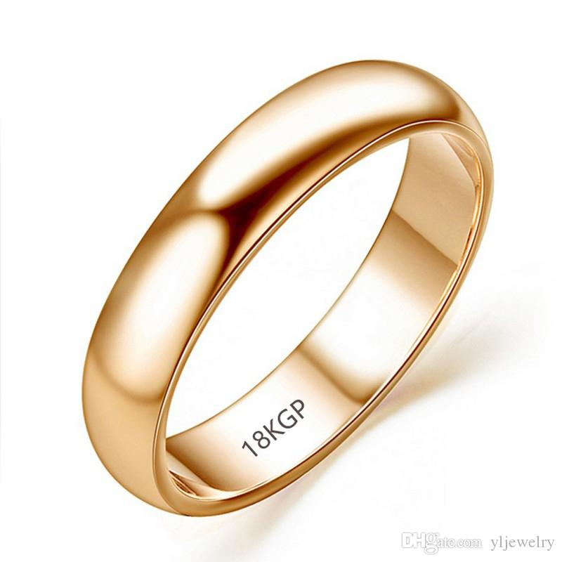 Original Real Pure Gold Rings For Women and Men With 18KGP Stamp Top Quality Rose Gold Ring Jewelry Gift Wholesale R050