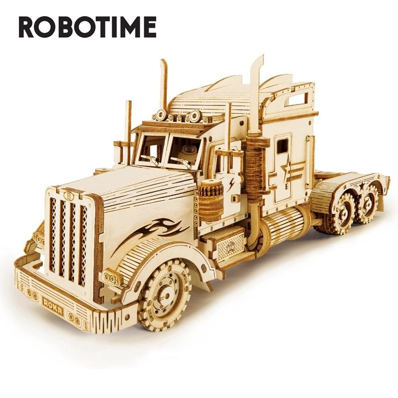Robotime 286pcs Classic DIY Movable 3D America Heavy Truck Wooden Puzzle Game Assembly Toy Gift For Children Adult Mc502 Y200413
