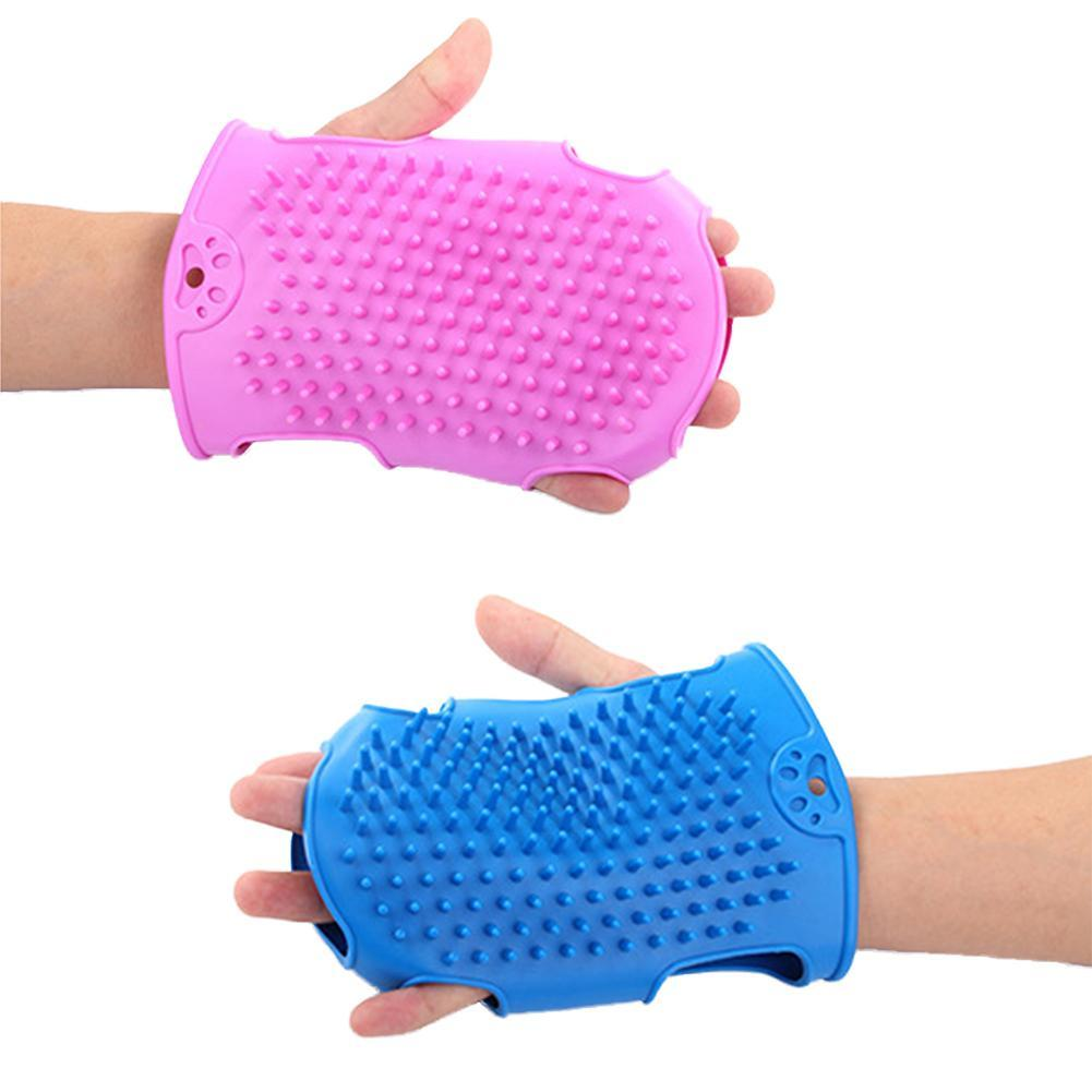 Pet Dog Grooming Gloves Cat Beauty Massage Hair Cleaning Bathing Gloves Silicone Dog Bath Massage Brush Dog Supplies 20E