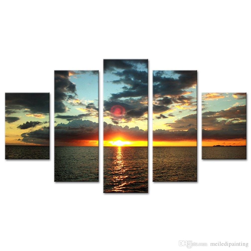 Sunset Seaview Canvas Prints Wall Art 5 Panels Seascape Painting Seaside Picture Prints on Canvas Artwork Modern Home Living Room Decor