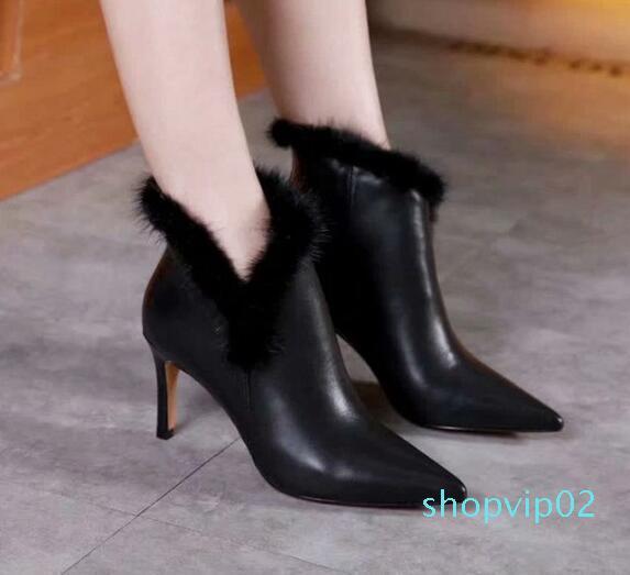 Hot Sale-New Arrival Womens High Heel 7.5cm Inverno Neve tornozelo Cashmere Mink cabelo couro Sapatinho SZ35-39