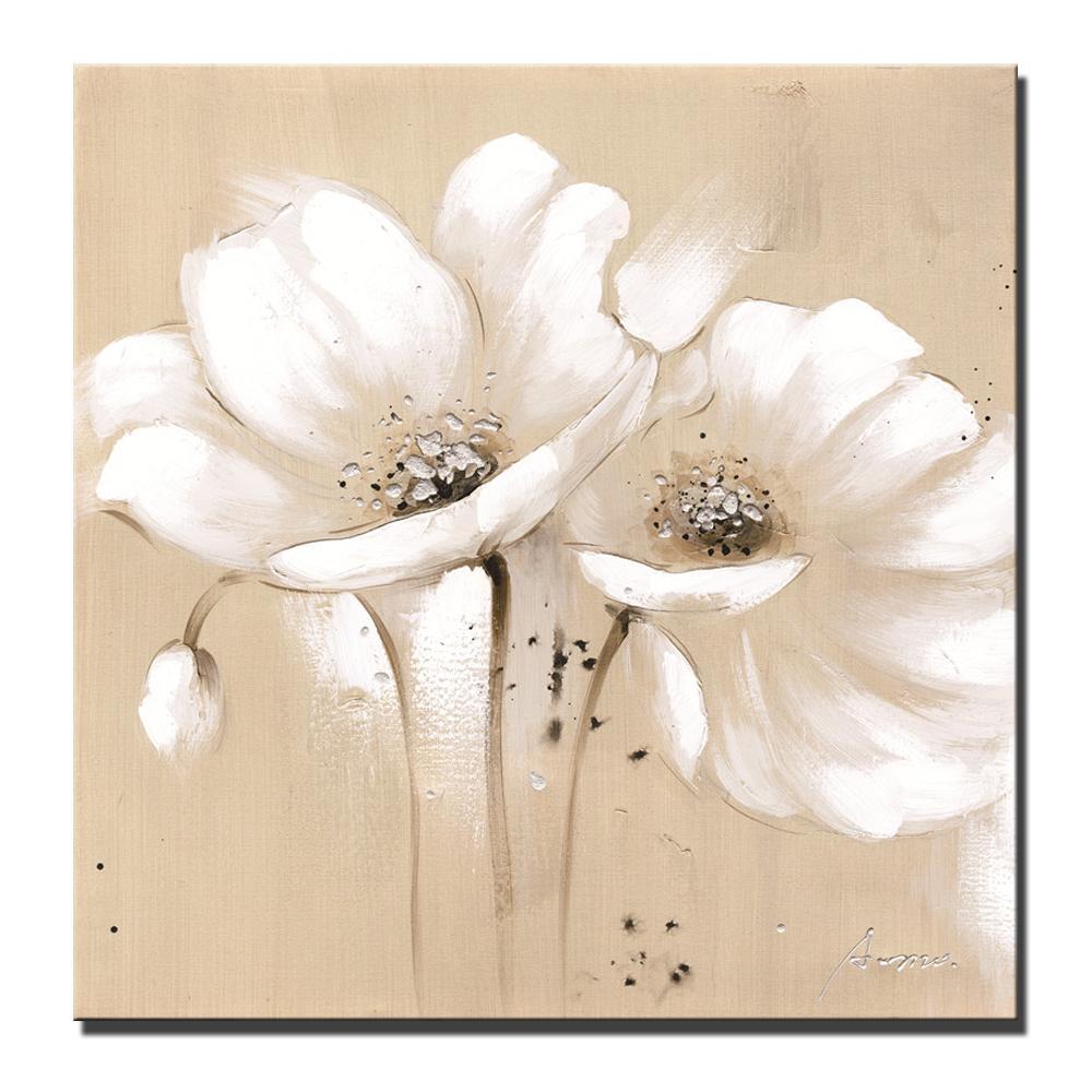 Большие абстрактные цветы холст картины Белый цвет Современные Маки Цветы Плакаты и печать Стена Картины для гостиной