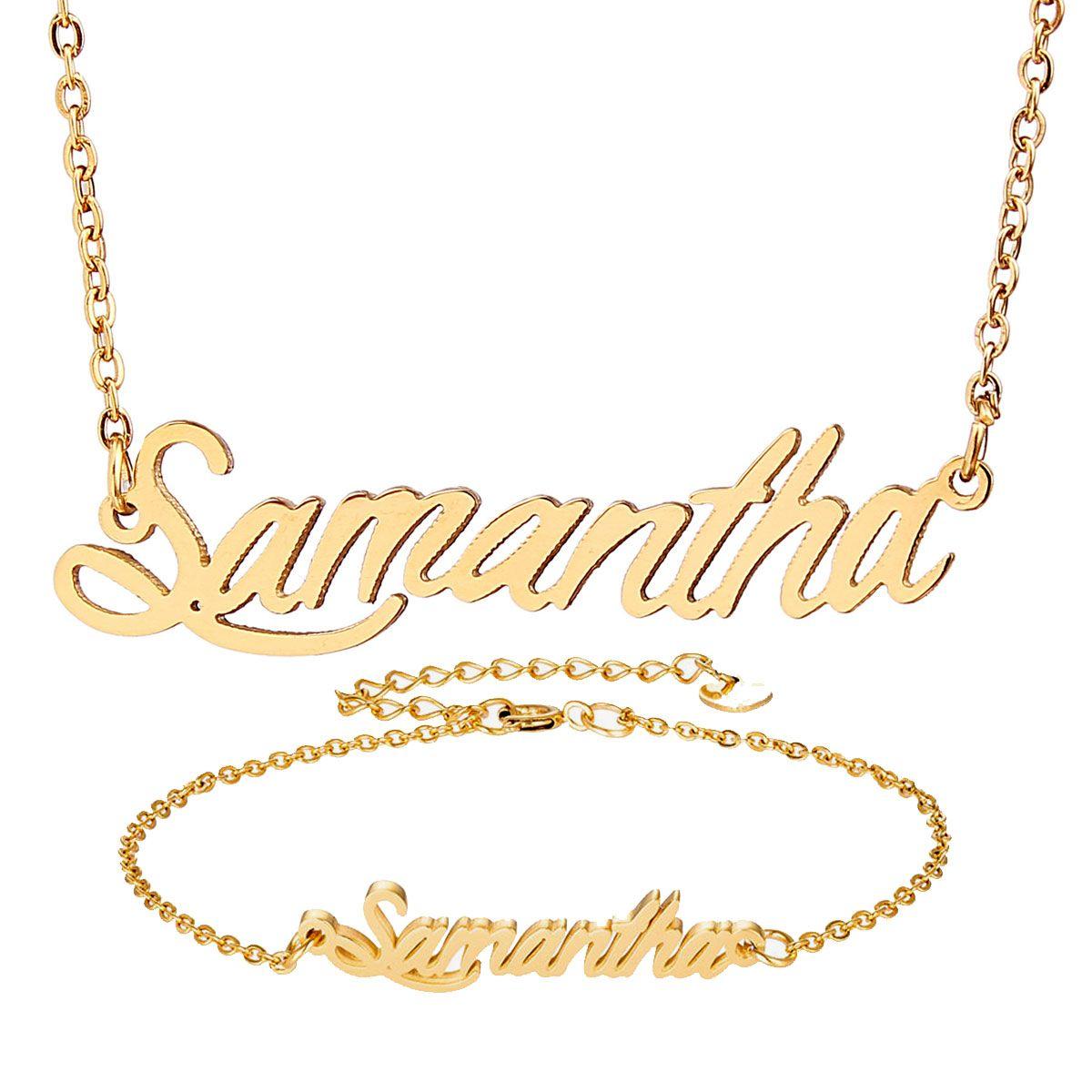 """Personalisierte Gold-Namenskette """"Samantha"""" Script Kette für Frauen Goldchoker Kettenhalsketten-Anhänger-Armband-Satz-Geschenk-Namensschild"""