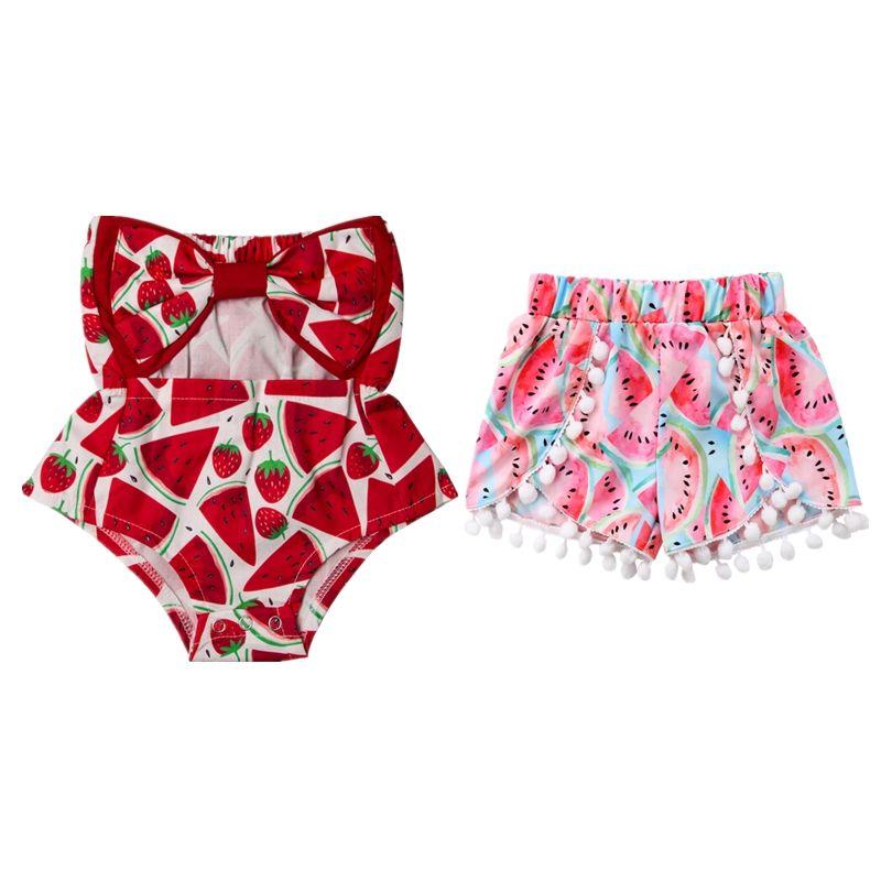 Newborn bambina bambino anguria pagliaccetto Shorts bambini Bowknot Top senza spalline tutina spalle pagliaccetti tuta Outfits prendisole