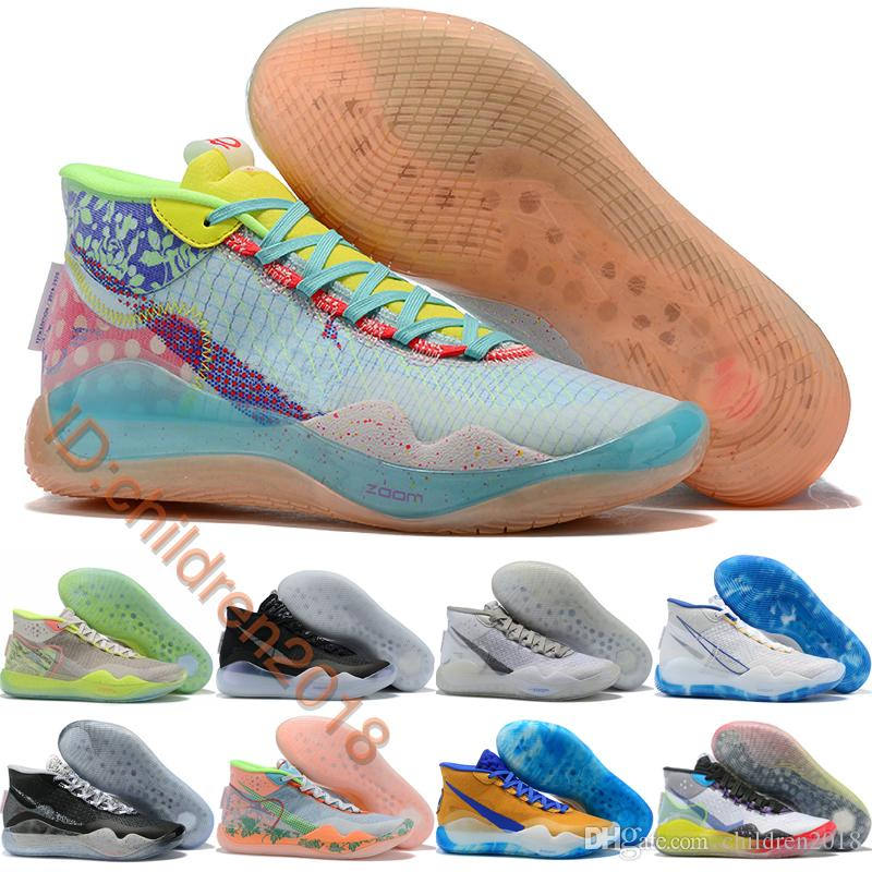 Kevin Durant KD 12 Basketball Shoes For Men KD12 Trainers EYBL Peach Jam Wolf Grey Warriors Home 90s Kid Basket Sneakers Size 40-46