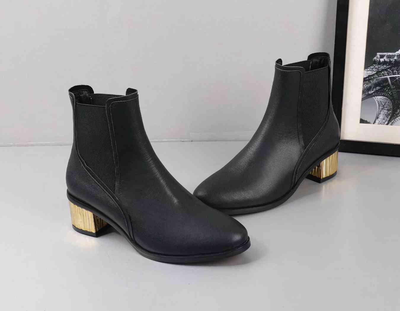 Fashion top bottes dames luxe partie design bottines noires en cuir brun à faible talon en daim bottes pour femmes tube courtes plates 35-39
