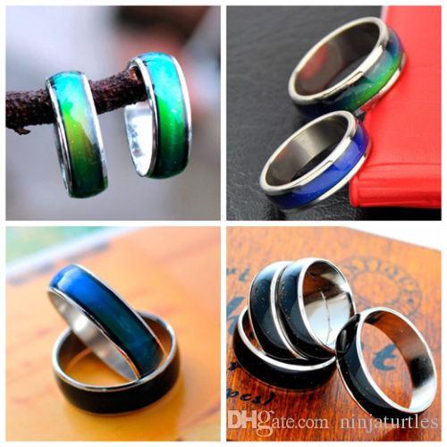Alta qualità 50pcs acciaio inossidabile magico Mood ring temperatura che cambia colore emozione sentirsi anelli per le donne / uomini paio gioielli anello MR014