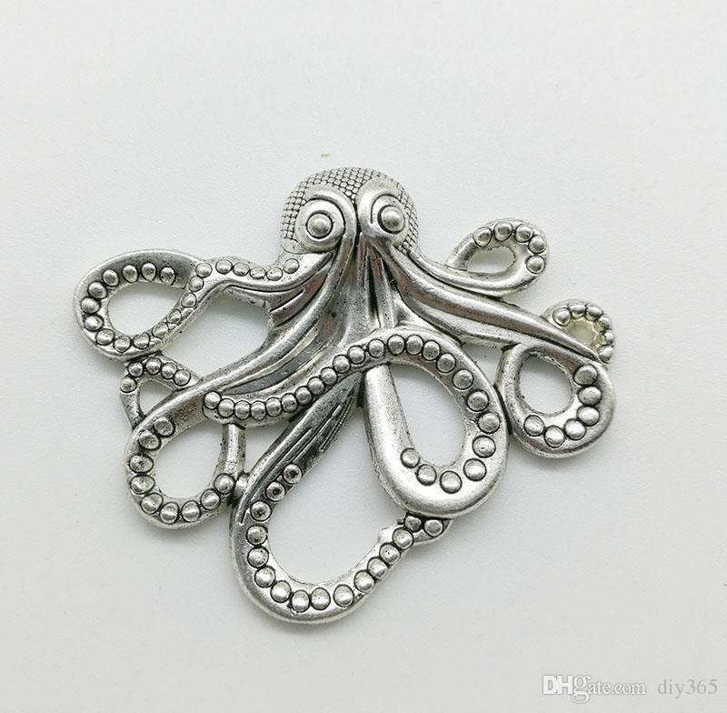 20 pz / lotto grande polpo in lega pendente di fascino gioielli retrò portachiavi fai da te ciondolo in argento tibet per orecchini braccialetto 35 * 43mm