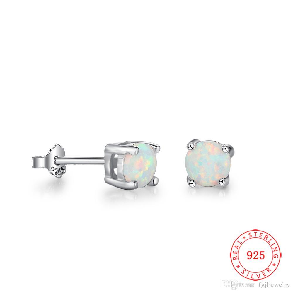 5 x 7 mm Fiery  White Opal  Sterling  Silver  925  Gemstone  Stud Earrings