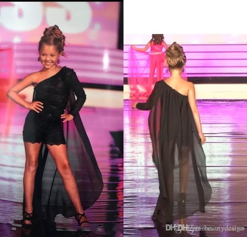 Симпатичный черный цветок девочки платья для вечера партии одно плечо шнурка маленьких девочек Birthday Party платье с мыса Малыша Pageant платье Romper