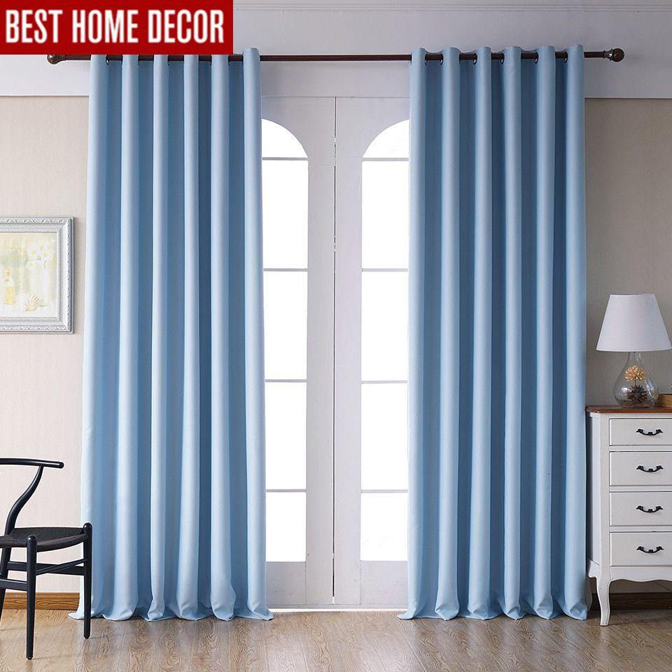 창 처리 커튼 블루 완성 된 정전 1 패널의 거실 침실 커튼 현대 정전 커튼