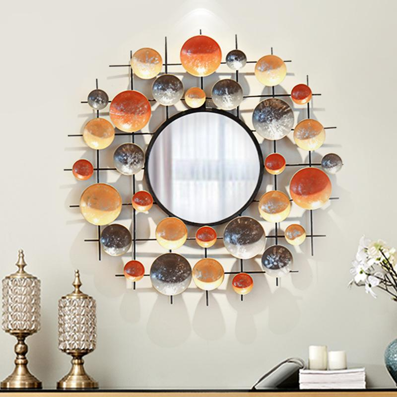 Creativa puerta de entrada de hierro forjado Espejo decorativo estéreo decoración de la pared de la sala del fondo del sofá colgar de la pared
