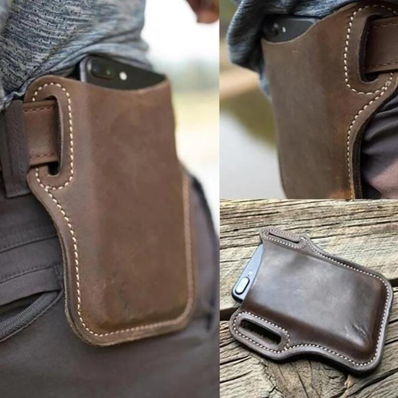 2020 modo di alta qualità loop Holster Uomini cellulare usura della cinghia multifunzionale del sacchetto della vita puntelli in pelle borsa del raccoglitore del telefono