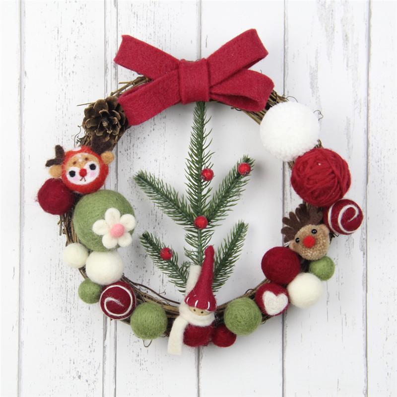 2020 25cm Christmas Wreath Wool Felt Garland Diy Kit For Home Decor Wedding Party Decoration Handmade Pine Felt Floral Wreath From Hymen 21 34 Dhgate Com