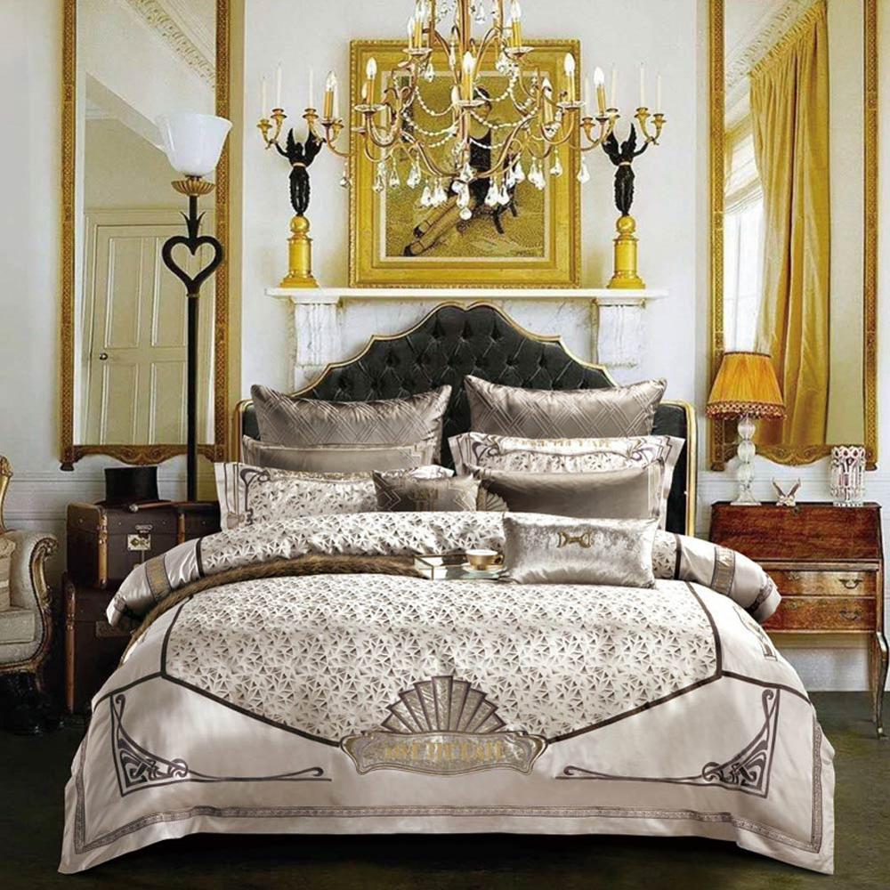 Luxus-Bettwäsche aus ägyptischer Baumwolle Set 4-teilig gestickte Bettbezug-Set Flachbettlaken Quilt Linen König Queen Size