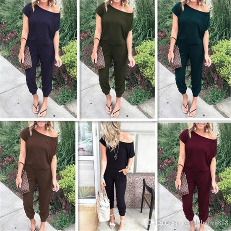 Boutique Mulheres jumpsuits roupa das mulheres de manga curta macacãozinho 2020 Primavera Outono Moda Oblique ombro Macacão 6 cores C695