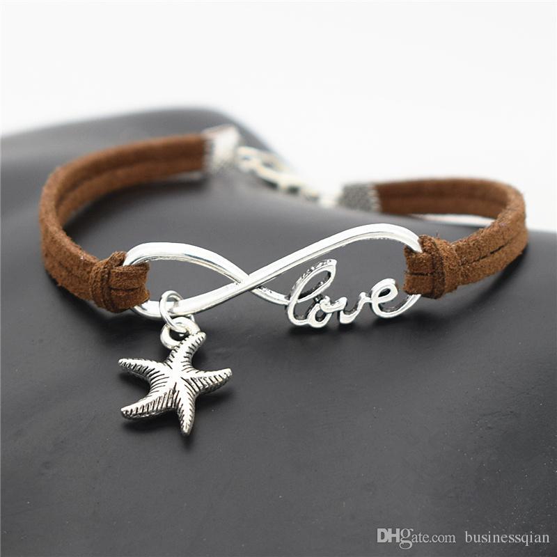Wholesale Hand-woven Dark Brown Leather Suede Rope Cuff Charm Bracelet Bangles New Fashion Women Men Infinity Love Sea Star Starfish Jewelry