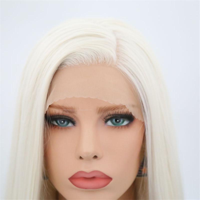 Synthétique avant de dentelle Blond platine perruques pour les femmes hétérosexuelles côté résistant à la chaleur partie longue perruque de cheveux Blonded