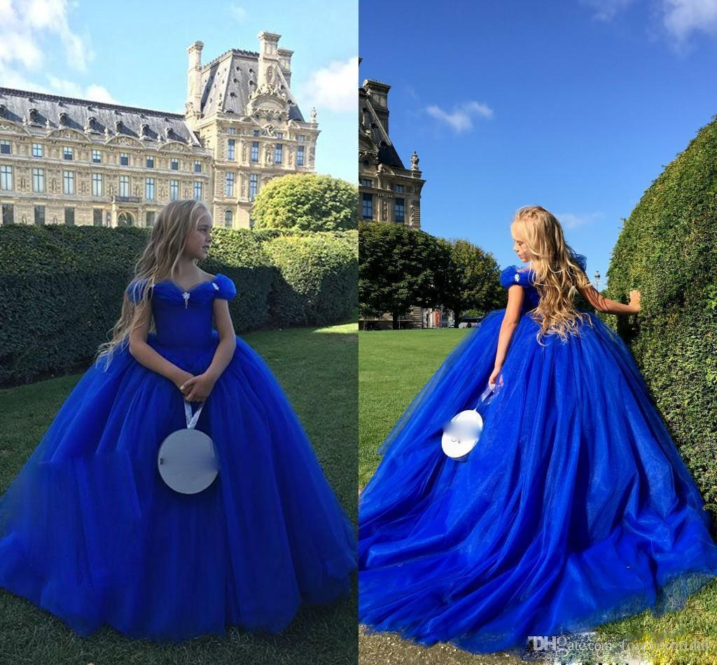 Royal Blue Flower Girls Dresses Tulle Sweetheart Neck Princess Ball Gowns For Birthday Floor Length Kid Girl Clothes