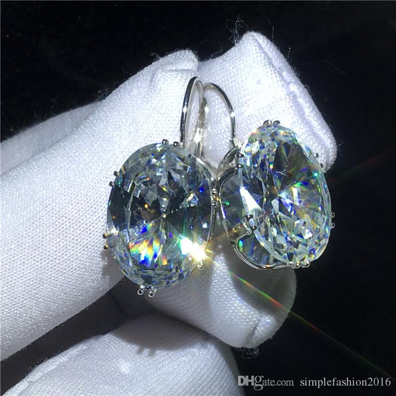 Office Lady Drop Earring White Gold Filled oval cut Crystal Cz Engagement wedding Dangle Earrings for women Bridal Gift