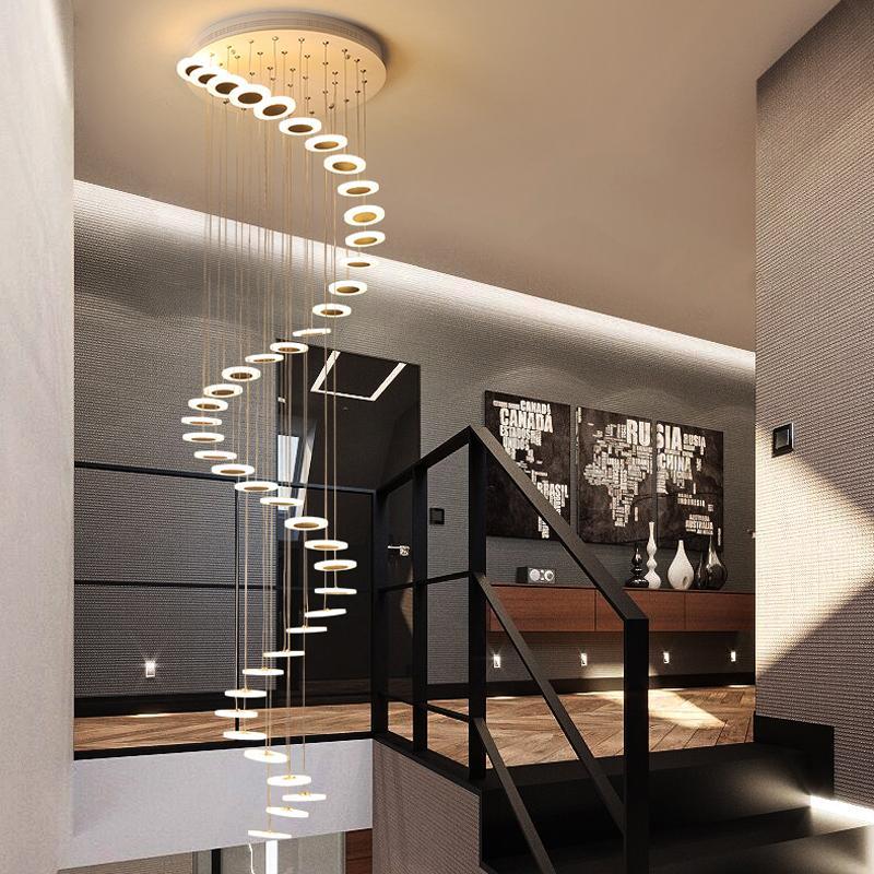 الثريا الحديثة الحد الأدنى المزدوجة قاعة الطابق الأزياء جو غرفة المعيشة الشمال مصباح فيلا دوامة الدرج معلقة لفترة طويلة