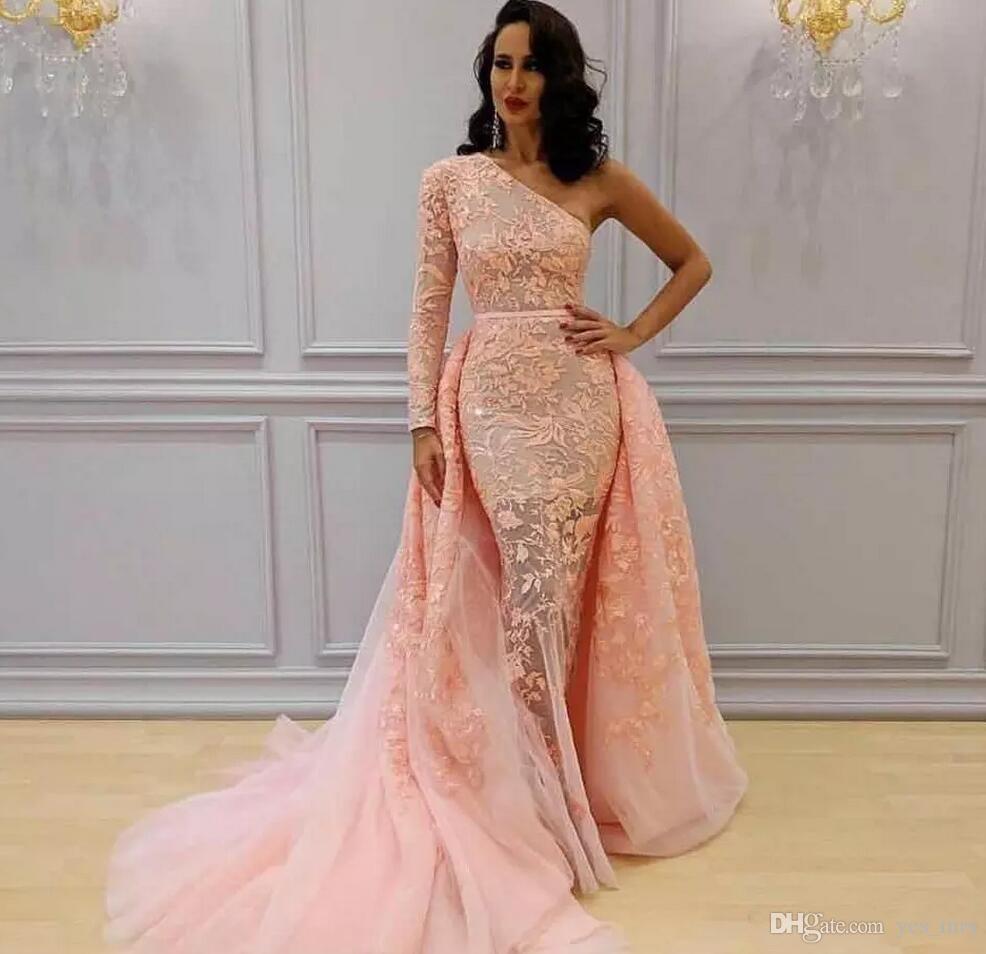 2020 인어 블러쉬 핑크 이브닝 드레스 착용 한 어깨 긴 소매 레이스 아플리케 얇은 명주 그물 스커트 연예인 긴 파티 댄스 파티 가운