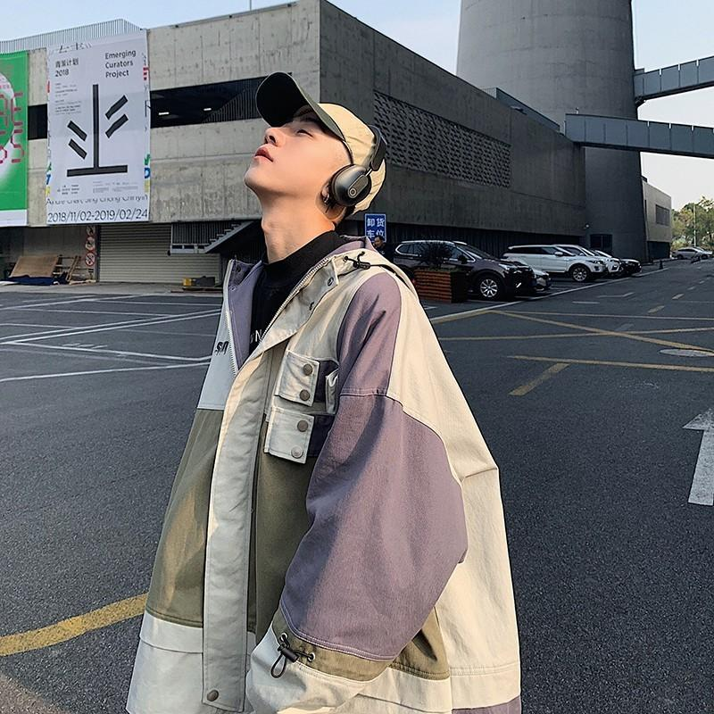 2019 Japanese Style Men's Streetwear Bomber Jackets Patchwork Pockets Coats Retro Harajuku Hooded Outwear Windbreaker Size M-XL