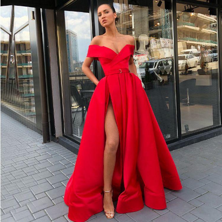 Compre 2019 Sexy Fuera Del Hombro Vestidos De Noche Rojos Con Vestidos Divididos De Baile Vestidos Largos Para Mujeres A 7333 Del Foreverbridal