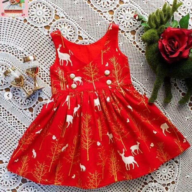 عيد الميلاد الاطفال الفساتين للفتيات طفل طفل طفلة أكمام الكرتون الغزلان طباعة اللباس عيد الميلاد الملابس vestido