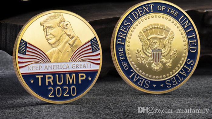 أزياء العظمى 2020 عملات دونالد ترامب التذكارية عملة الرئيس الأمريكي الرمزية ذهب فضة شارة الحرف المعدنية مجموعة الجمهوري